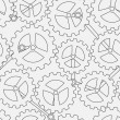 Stock Vector: White cogwheel seamless pattern