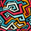 Bright graffiti seamless pattern with grunge effect - Stok Vektör