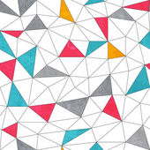 Abstract color triangle seamless pattern with grunge effect — Stock Vector