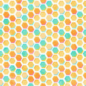 Abstract honeycomb seamless pattern with grunge effect — Vector de stock
