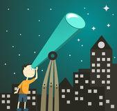 望遠鏡を持つ少年 — ストックベクタ
