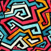 Patrón transparente brillante graffiti con efecto grunge — Vector de stock