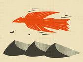 Arte de vector de águila voladora — Vector de stock