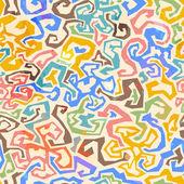 Gekleurde doolhof naadloze patroon met grunge effect — Stockvector