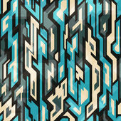Blue technology seamless pattern with grunge effect — Vettoriale Stock
