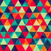 Colored triangle seamless pattern with blot effect — Stock Vector
