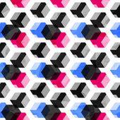 Technology cubes seamless pattern with grunge effect — Cтоковый вектор