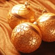Golden christmas balls — Stock fotografie
