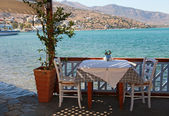 Beautiful outdoor restaurant (Crete, Greece) — Stock Photo
