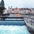 Water spike in the center of Lucerne, Switzerland. - Stock Photo