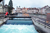Water spike in the center of Lucerne, Switzerland. — Stock Photo