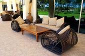 Outdoor furnitures on luxury resort — Stock Photo
