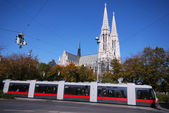 Cathedral and tram — Stock Photo