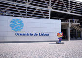 Entrance and signboard of Oceanarium, Lisbon, Portugal — Stock Photo