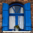Stock Photo: Blue window and shutter, Crete, Greece.
