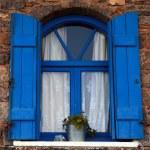 Blue window and shutter, Crete, Greece. — Stock Photo