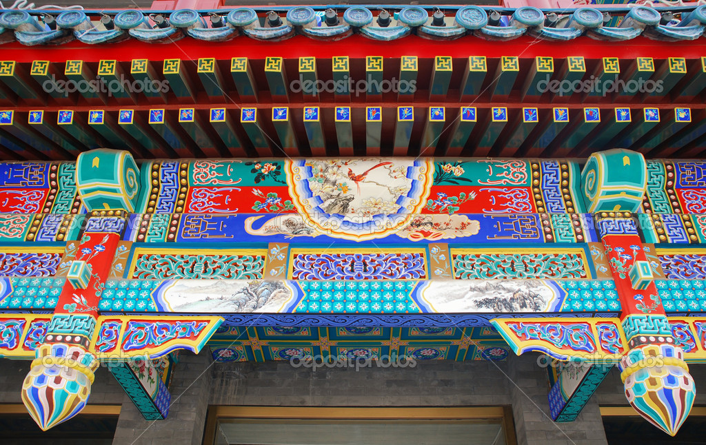 Traditional painted facade detail of ancient chinese pavilion in Forbidden City(Beijing, China) — Stock Photo #12177476