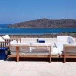 Terrace seaview with sofa (Crete, Greece) — Stock Photo #12274583