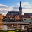 Regensburg (Bavaria, Germany) and Danube river - Stock Photo