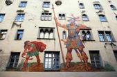 David and Goliath fresco on medieval house wall,Regensburg, Germ — Stock Photo