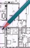 Blueprint ve kalem — Stok fotoğraf