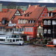 Old fisher houses and boats in Bamberg, Germany — Stock Photo