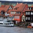 Old fisher houses and boats in Bamberg, Germany - Stock Photo