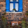 Stock Photo: Vintage blue window, Greece.