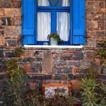 Vintage blue window, Greece. — Stock Photo