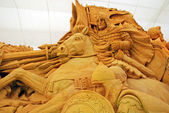 Sand sculpture of knight — Zdjęcie stockowe