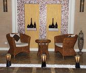 Rattan interior in SPA salon — Stock Photo
