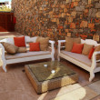 Beautiful mediterranean patio with white outdoor furniture(Greec - Stock Photo