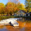 Lake in the autumn park - Stock Photo