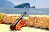 Old cannon in a fortress Budva — Stock Photo