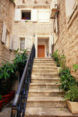 Mediterranean stone house with steps — Foto Stock