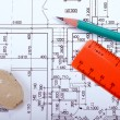 Stock Photo: Renovation blueprint