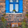 Vintage blue window, Greece. - Stock Photo