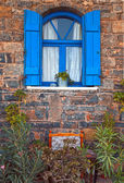 Vintage blue window, Greece. — Stock Photo