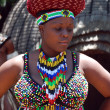 African woman in traditional accessories(South Africa) - Stock Photo