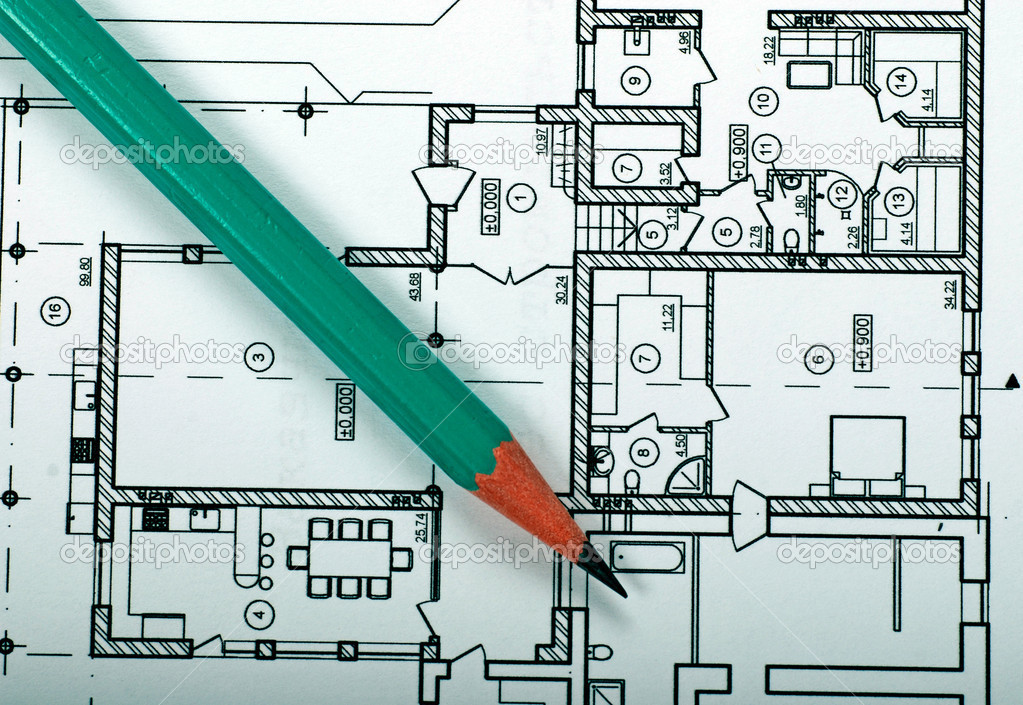 Architecture plan of house and pencil — Stock Photo #14552535
