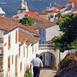 Narrow street in medieval village Marvao (Portugal, Alentejo) - Stock Photo