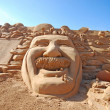 Stock Photo: Fantastic sand sculpture with head of Einstein
