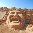 Fantastic sand sculpture with head of Einstein - Stock Photo