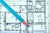 Blueprint and pencil — Stock Photo