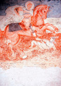 Antique wall fresco-St. George — Stock Photo