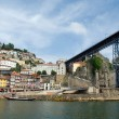 Ribeira, Bridge and Douro river(Porto,Portugal) - Stock Photo