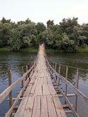 Velha ponte de madeira sobre o rio — Fotografia Stock
