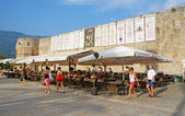 Cafe near Old town walls, Budva, Montenegro — Stock Photo