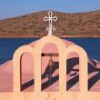 Bell tower in a little classical orthodox Greek church — Stock Photo