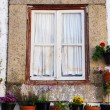 Window with flower pots in european village — Stock Photo